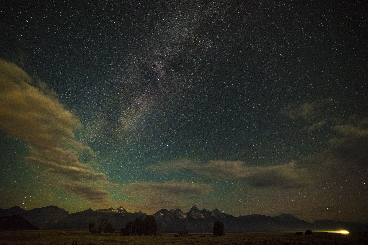 Milky Way and Clouds Above the Tetons