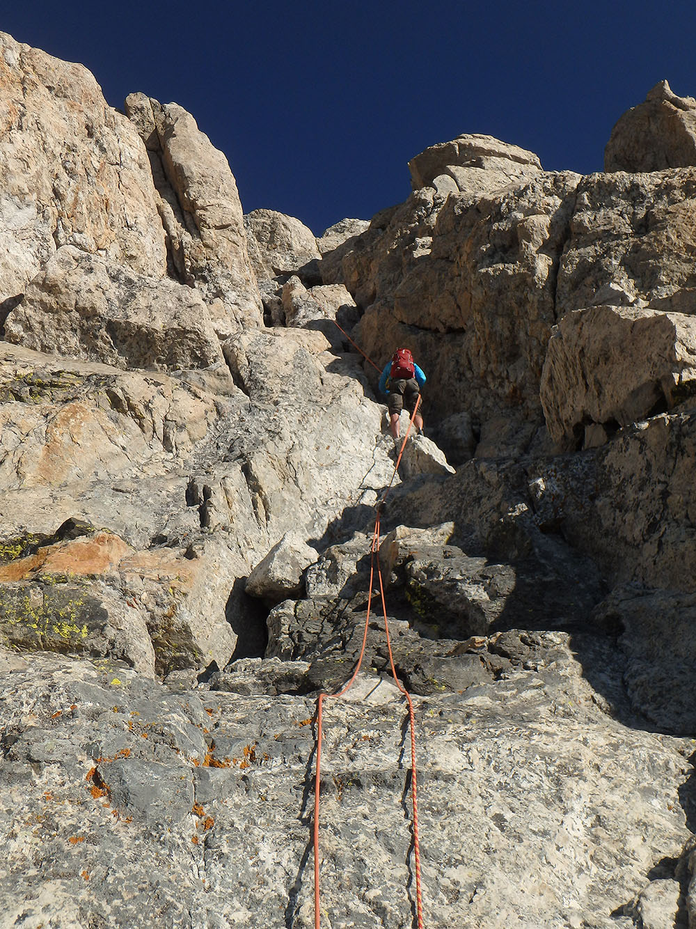 Chris on the first rappel from the Grand Teton in Wyoming