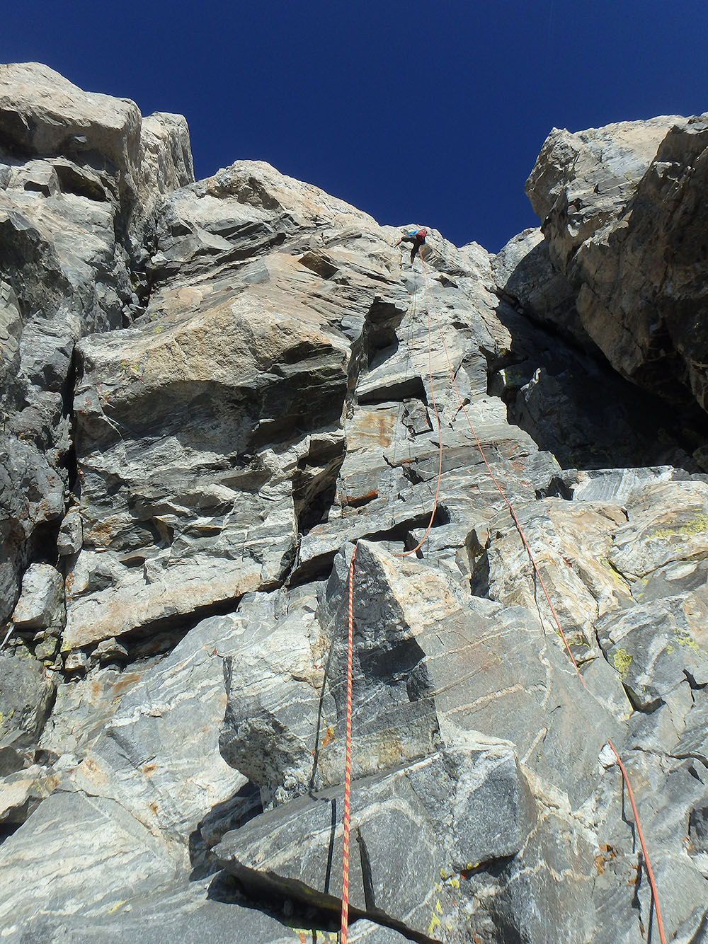 Chris on the 2nd rappel on the Grand Teton in Wyoming